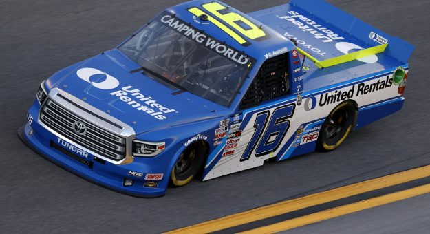 DAYTONA BEACH, FLORIDA - FEBRUARY 11: Austin Hill, driver of the #16 United Rentals Toyota, practices for the NASCAR Camping World Truck Series NextEra Energy 250 at Daytona International Speedway on February 11, 2021 in Daytona Beach, Florida. (Photo by Jared C. Tilton/Getty Images) | Getty Images