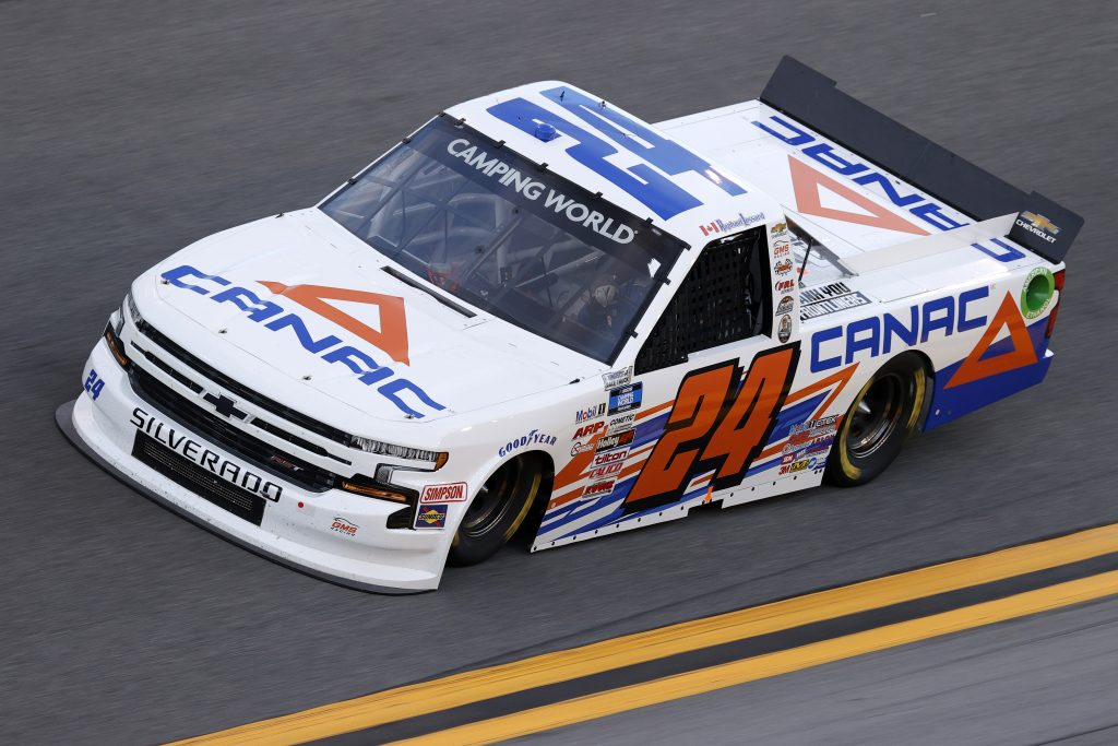 DAYTONA BEACH, FLORIDA - FEBRUARY 11: Raphael Lessard, driver of the #24 CANAC Chevrolet, practices for the NASCAR Camping World Truck Series NextEra Energy 250 at Daytona International Speedway on February 11, 2021 in Daytona Beach, Florida. (Photo by Jared C. Tilton/Getty Images) | Getty Images
