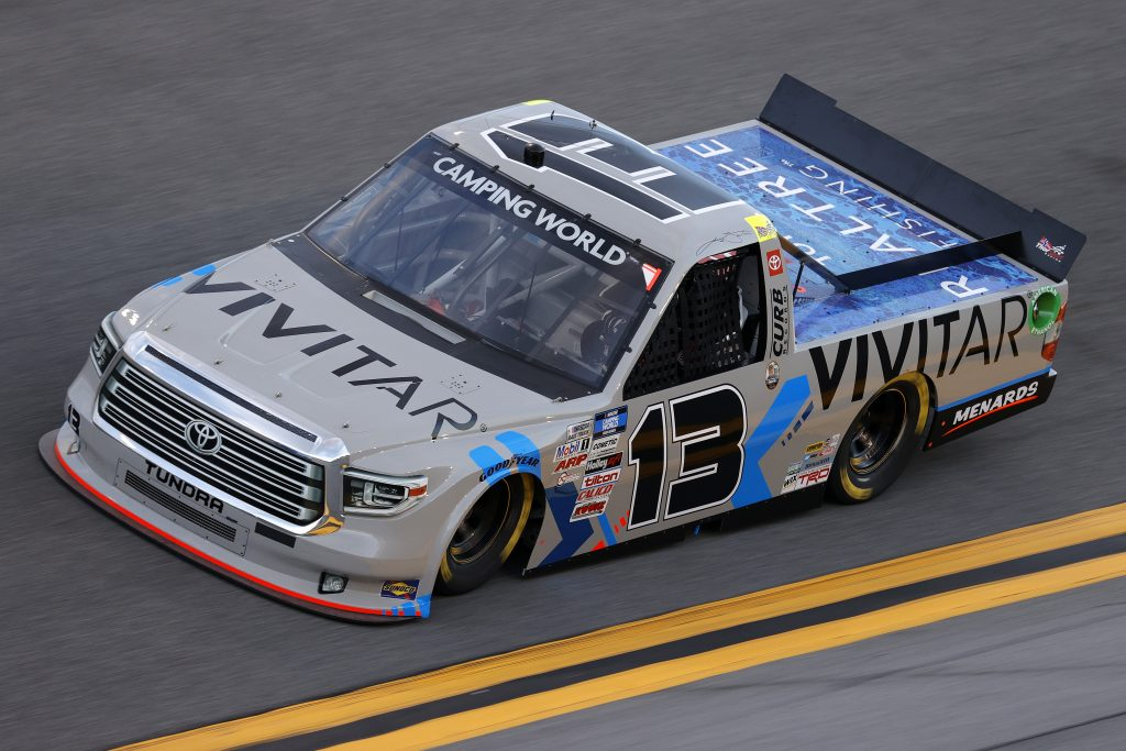 DAYTONA BEACH, FLORIDA - FEBRUARY 11: Johnny Sauter, driver of the #13 Vivitar/RealTree Toyota, practices for the NASCAR Camping World Truck Series NextEra Energy 250 at Daytona International Speedway on February 11, 2021 in Daytona Beach, Florida. (Photo by Jared C. Tilton/Getty Images) | Getty Images