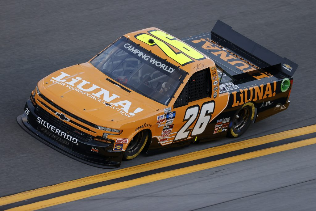 DAYTONA BEACH, FLORIDA - FEBRUARY 11: Tyler Ankrum, driver of the #26 LiUNA! Chevrolet, practices for the NASCAR Camping World Truck Series NextEra Energy 250 at Daytona International Speedway on February 11, 2021 in Daytona Beach, Florida. (Photo by Jared C. Tilton/Getty Images) | Getty Images