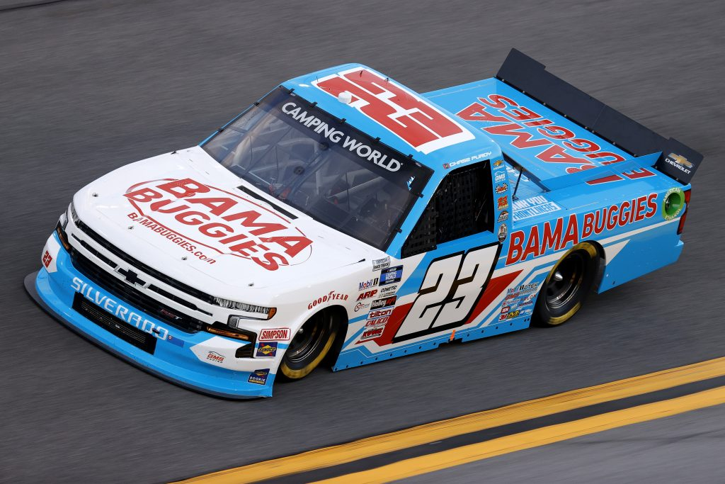 DAYTONA BEACH, FLORIDA - FEBRUARY 11: Chase Purdy, driver of the #23 BamaBuggies.com Chevrolet, practices for the NASCAR Camping World Truck Series NextEra Energy 250 at Daytona International Speedway on February 11, 2021 in Daytona Beach, Florida. (Photo by Jared C. Tilton/Getty Images) | Getty Images