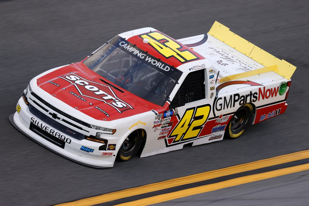 DAYTONA BEACH, FLORIDA - FEBRUARY 11: Carson Hocevar, driver of the #42 GM Parts Now Chevrolet, practices for the NASCAR Camping World Truck Series NextEra Energy 250 at Daytona International Speedway on February 11, 2021 in Daytona Beach, Florida. (Photo by Jared C. Tilton/Getty Images) | Getty Images