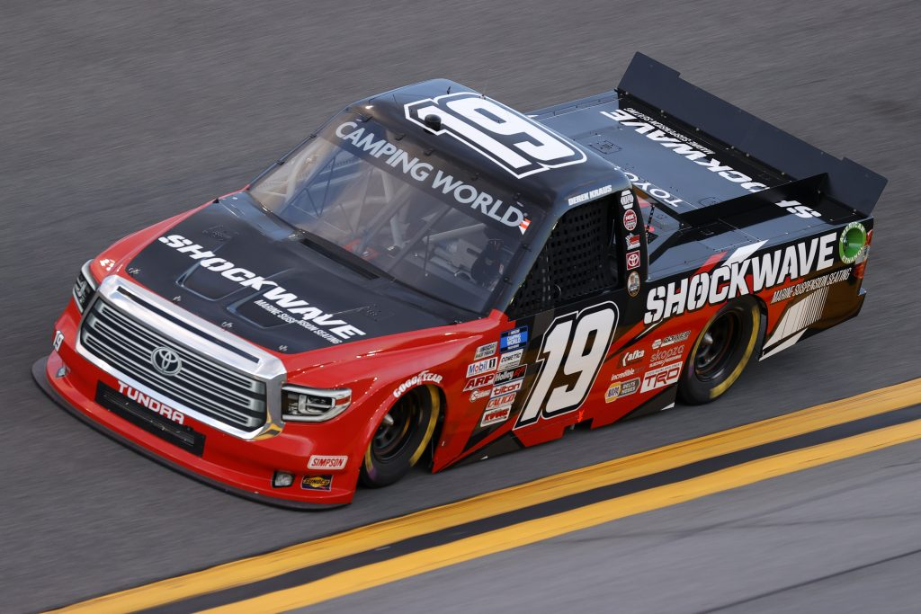 DAYTONA BEACH, FLORIDA - FEBRUARY 11: Derek Kraus, driver of the #19 MHR SHOCKWAVE Toyota, practices for the NASCAR Camping World Truck Series NextEra Energy 250 at Daytona International Speedway on February 11, 2021 in Daytona Beach, Florida. (Photo by Jared C. Tilton/Getty Images) | Getty Images
