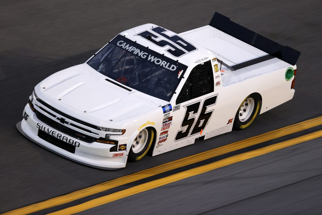 DAYTONA BEACH, FLORIDA - FEBRUARY 11: Gus Dean, driver of the #56 Dean Custom Air Chevrolet, practices for the NASCAR Camping World Truck Series NextEra Energy 250 at Daytona International Speedway on February 11, 2021 in Daytona Beach, Florida. (Photo by Jared C. Tilton/Getty Images) | Getty Images