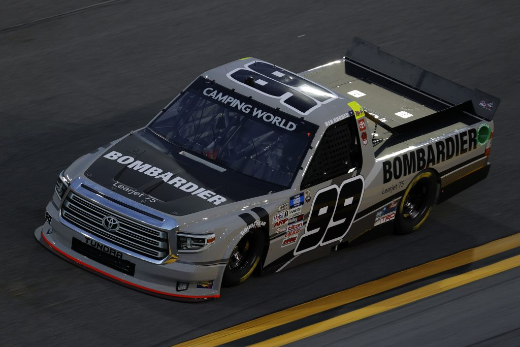 DAYTONA BEACH, FLORIDA - FEBRUARY 11: Ben Rhodes, driver of the #99 Bombardier LearJet 75 Toyota, practices for the NASCAR Camping World Truck Series NextEra Energy 250 at Daytona International Speedway on February 11, 2021 in Daytona Beach, Florida. (Photo by Jared C. Tilton/Getty Images) | Getty Images