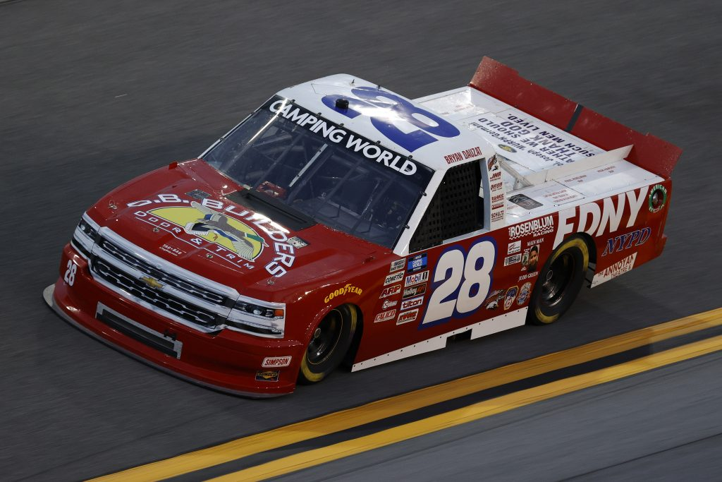 DAYTONA BEACH, FLORIDA - FEBRUARY 11: Bryan Dauzat, driver of the #28 FDNY/OB Builders Chevrolet, practices for the NASCAR Camping World Truck Series NextEra Energy 250 at Daytona International Speedway on February 11, 2021 in Daytona Beach, Florida. (Photo by Jared C. Tilton/Getty Images) | Getty Images