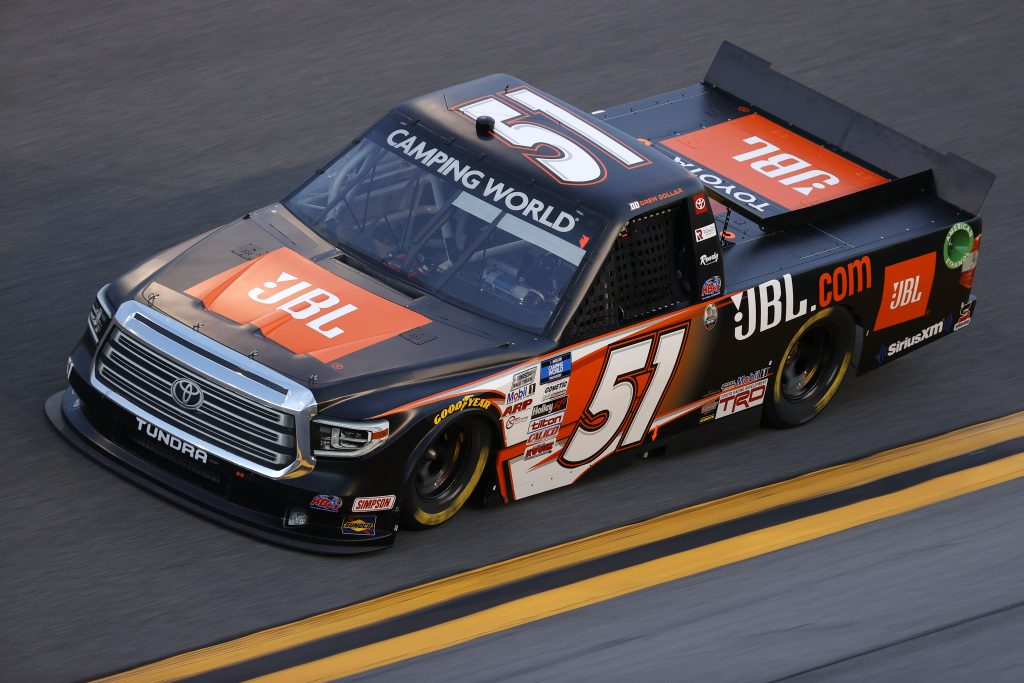 DAYTONA BEACH, FLORIDA - FEBRUARY 11: Drew Dollar, driver of the #51 JBL Toyota, practices for the NASCAR Camping World Truck Series NextEra Energy 250 at Daytona International Speedway on February 11, 2021 in Daytona Beach, Florida. (Photo by Jared C. Tilton/Getty Images) | Getty Images