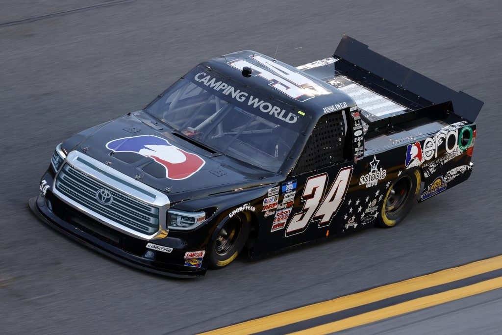 DAYTONA BEACH, FLORIDA - FEBRUARY 11: Jesse Iwuji, driver of the #34 E Racing Association Toyota, practices for the NASCAR Camping World Truck Series NextEra Energy 250 at Daytona International Speedway on February 11, 2021 in Daytona Beach, Florida. (Photo by Jared C. Tilton/Getty Images) | Getty Images