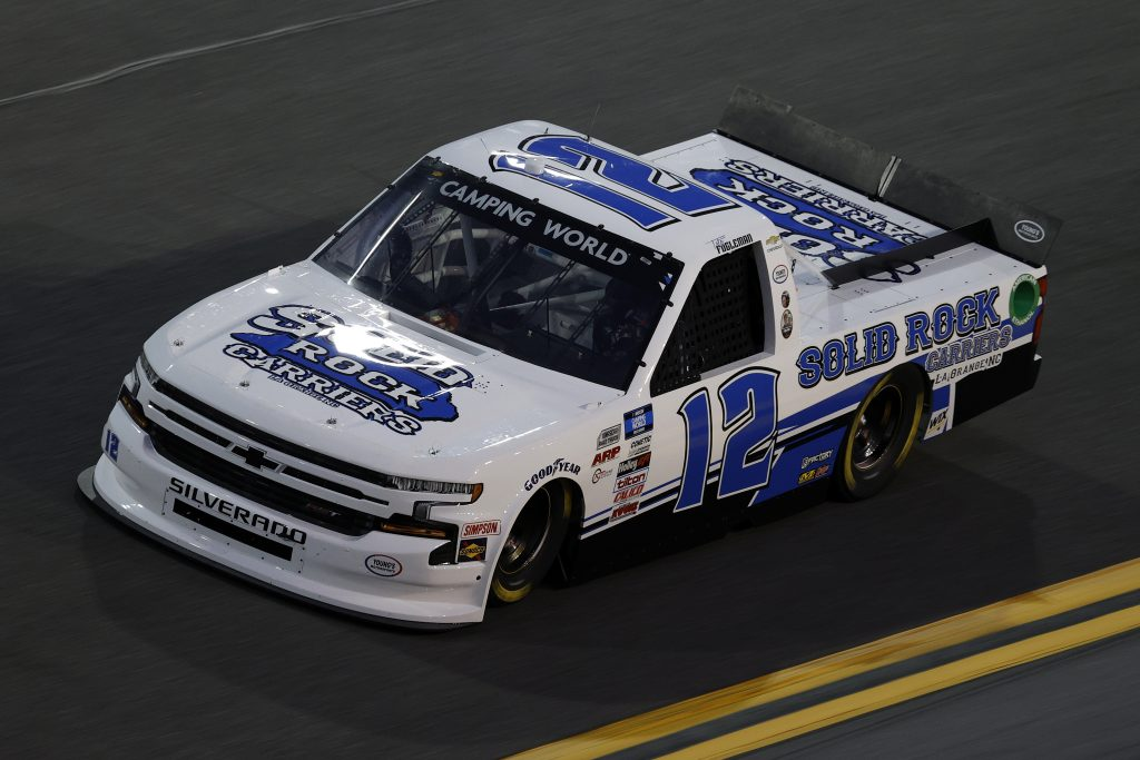 DAYTONA BEACH, FLORIDA - FEBRUARY 11: Tate Fogleman, driver of the #12 Solid Rock Carriers Chevrolet, practices for the NASCAR Camping World Truck Series NextEra Energy 250 at Daytona International Speedway on February 11, 2021 in Daytona Beach, Florida. (Photo by Jared C. Tilton/Getty Images) | Getty Images