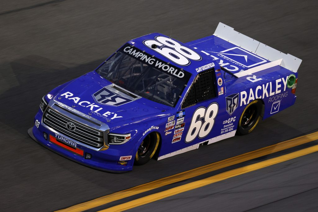 DAYTONA BEACH, FLORIDA - FEBRUARY 11: Clay Greenfield, driver of the #68 Rackley Roofing Toyota, practices for the NASCAR Camping World Truck Series NextEra Energy 250 at Daytona International Speedway on February 11, 2021 in Daytona Beach, Florida. (Photo by Jared C. Tilton/Getty Images) | Getty Images