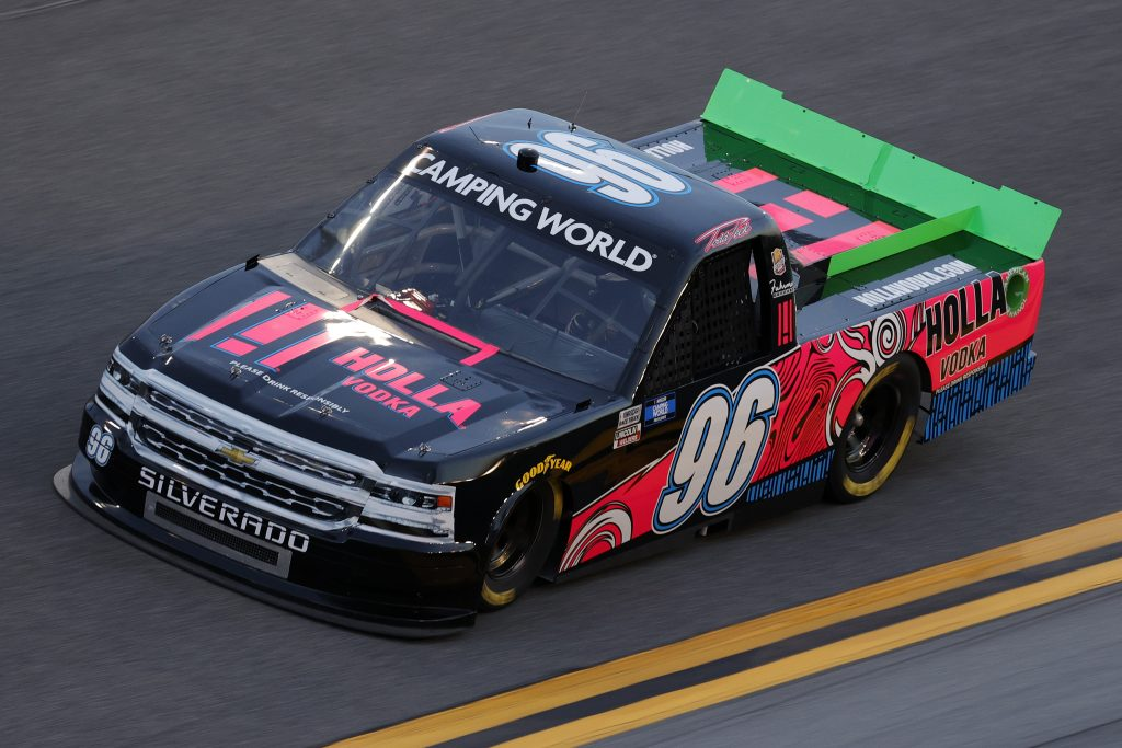 DAYTONA BEACH, FLORIDA - FEBRUARY 11: Todd Peck, driver of the #96 Holla Vodka Chevrolet, practices for the NASCAR Camping World Truck Series NextEra Energy 250 at Daytona International Speedway on February 11, 2021 in Daytona Beach, Florida. (Photo by Jared C. Tilton/Getty Images) | Getty Images