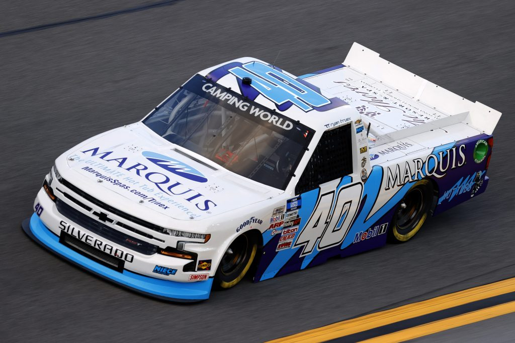 DAYTONA BEACH, FLORIDA - FEBRUARY 11: Ryan Truex, driver of the #40 Marquis Spas Chevrolet, practices for the NASCAR Camping World Truck Series NextEra Energy 250 at Daytona International Speedway on February 11, 2021 in Daytona Beach, Florida. (Photo by Jared C. Tilton/Getty Images) | Getty Images