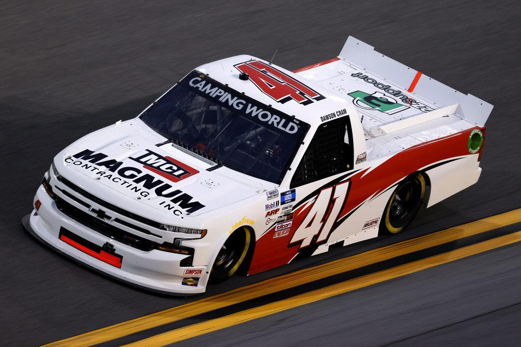 DAYTONA BEACH, FLORIDA - FEBRUARY 11: Dawson Cram, driver of the #41 Magnum Contracting Inc. Chevrolet, practices for the NASCAR Camping World Truck Series NextEra Energy 250 at Daytona International Speedway on February 11, 2021 in Daytona Beach, Florida. (Photo by Jared C. Tilton/Getty Images) | Getty Images