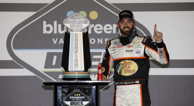 DAYTONA BEACH, FLORIDA - FEBRUARY 11: Austin Dillon, driver of the #3 Bass Pro Shops Chevrolet, celebrates in victory lane after winning during the NASCAR Cup Series Bluegreen Vacations Duel #2 at Daytona International Speedway on February 11, 2021 in Daytona Beach, Florida. (Photo by Chris Graythen/Getty Images)   Getty Images