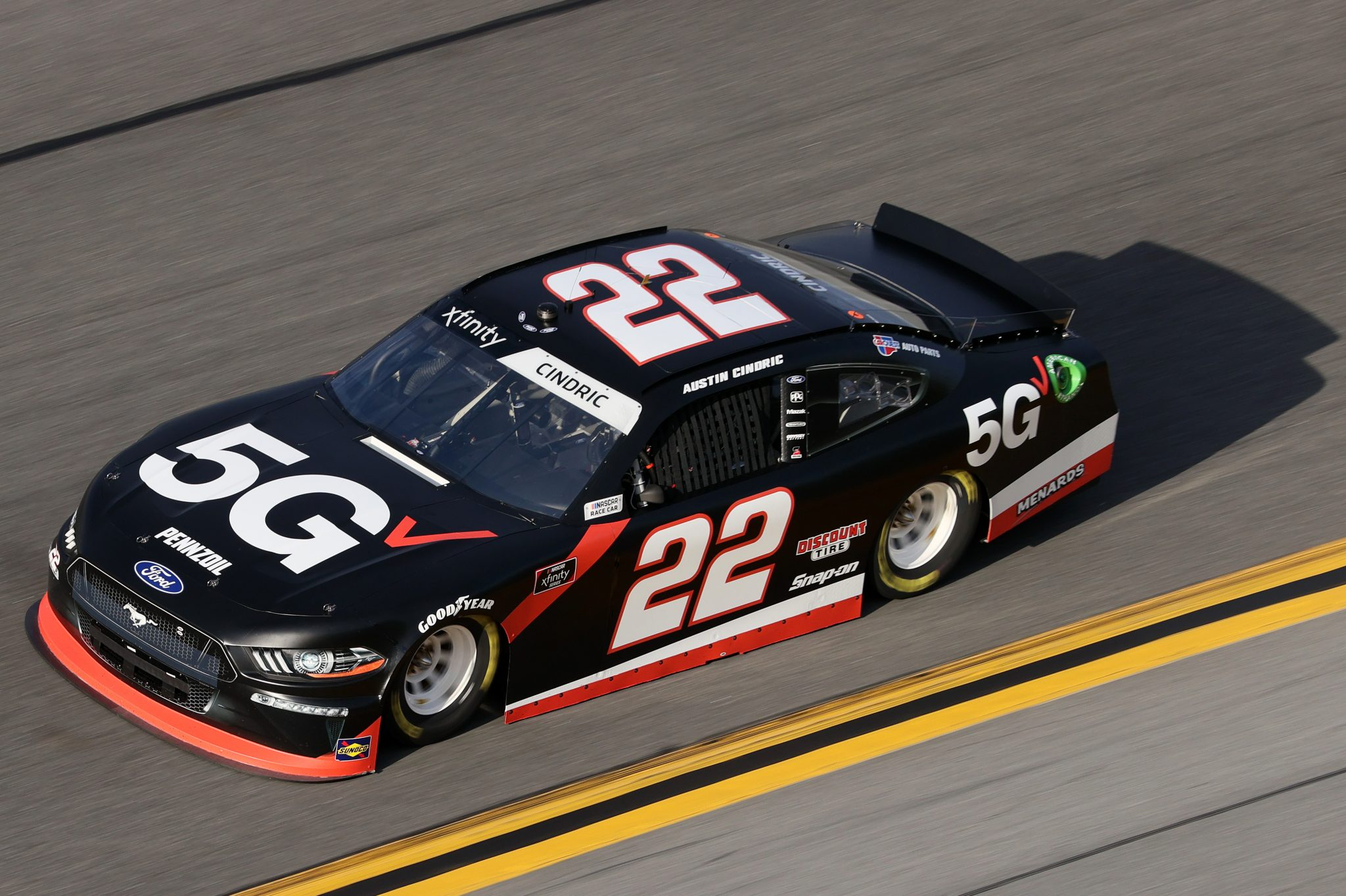 DAYTONA BEACH, FLORIDA - FEBRUARY 12: Austin Cindric, driver of the #22 Verizon 5G Ford, practices for the NASCAR Xfinity Series Beef. It's What's For Dinner. 300 at Daytona International Speedway on February 12, 2021 in Daytona Beach, Florida. (Photo by James Gilbert/Getty Images) | Getty Images