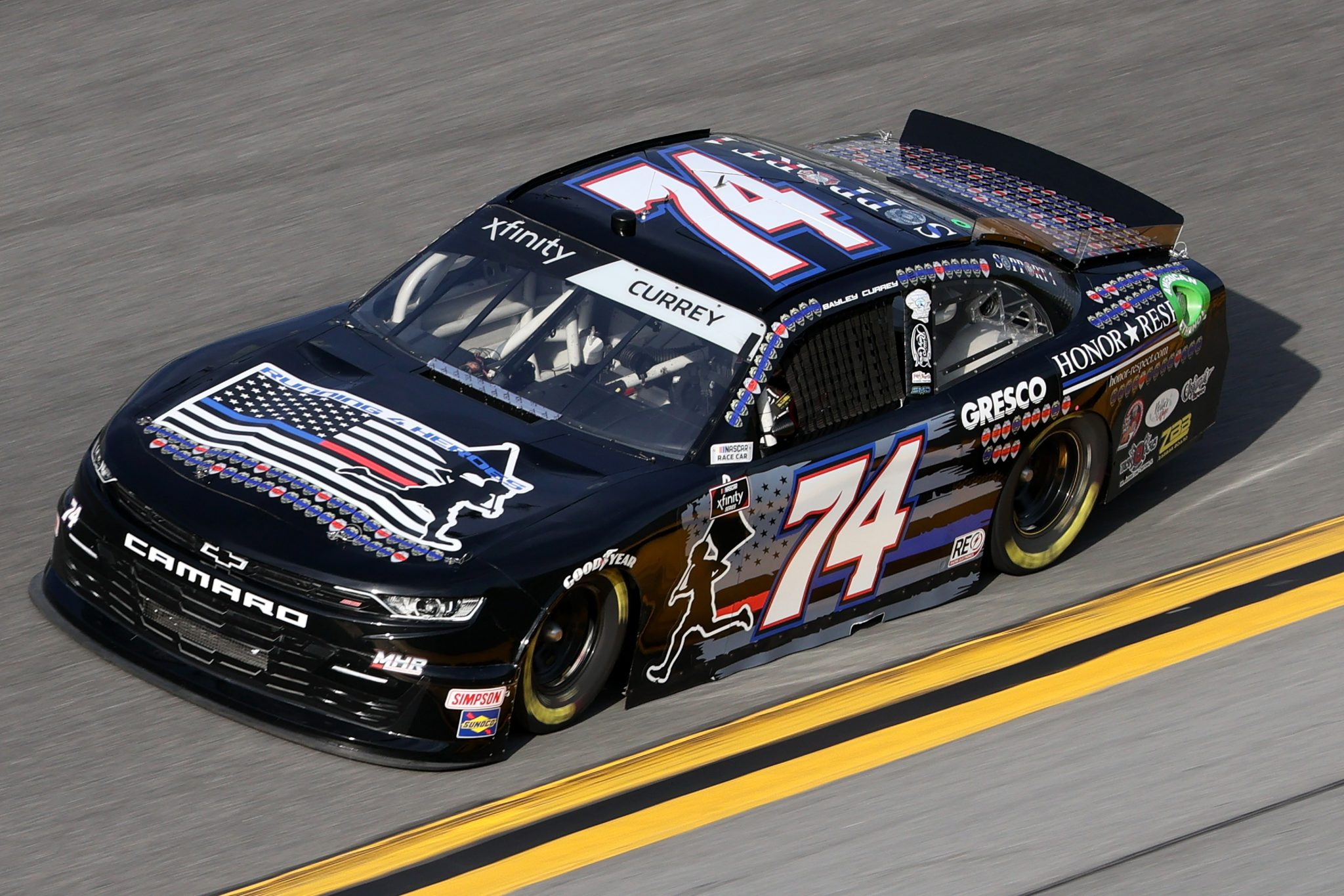 DAYTONA BEACH, FLORIDA - FEBRUARY 12: Bayley Currey, driver of the #74 Running 4 Heroes Chevrolet, practices for the NASCAR Xfinity Series Beef. It's What's For Dinner. 300 at Daytona International Speedway on February 12, 2021 in Daytona Beach, Florida. (Photo by James Gilbert/Getty Images) | Getty Images