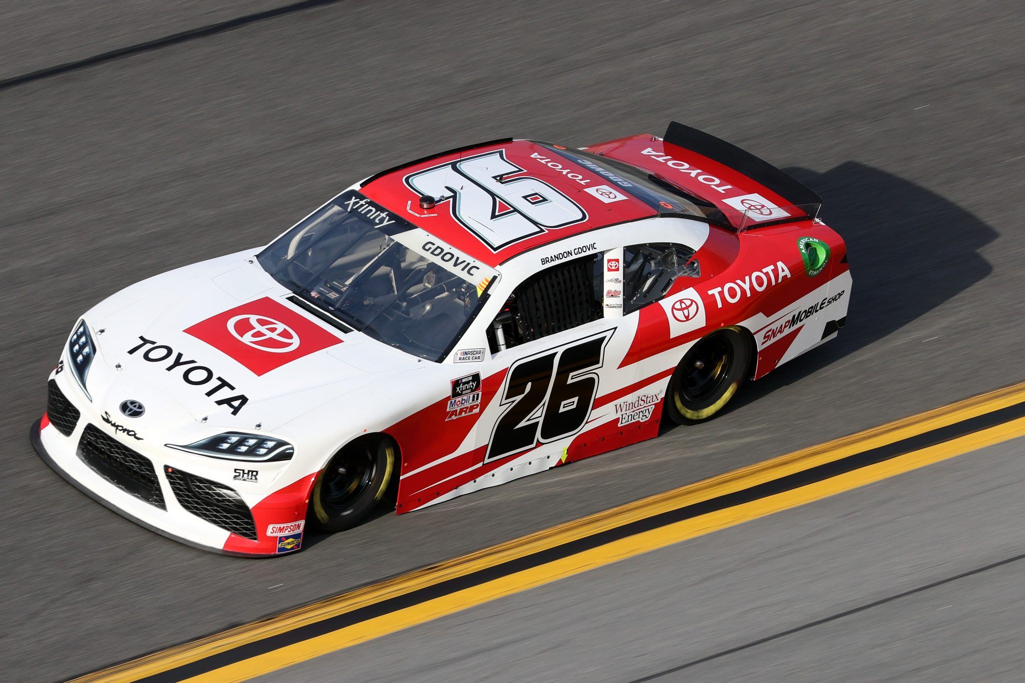 DAYTONA BEACH, FLORIDA - FEBRUARY 12: Brandon Gdovic, driver of the #26 Toyota Racing Toyota, practices for the NASCAR Xfinity Series Beef. It's What's For Dinner. 300 at Daytona International Speedway on February 12, 2021 in Daytona Beach, Florida. (Photo by James Gilbert/Getty Images) | Getty Images