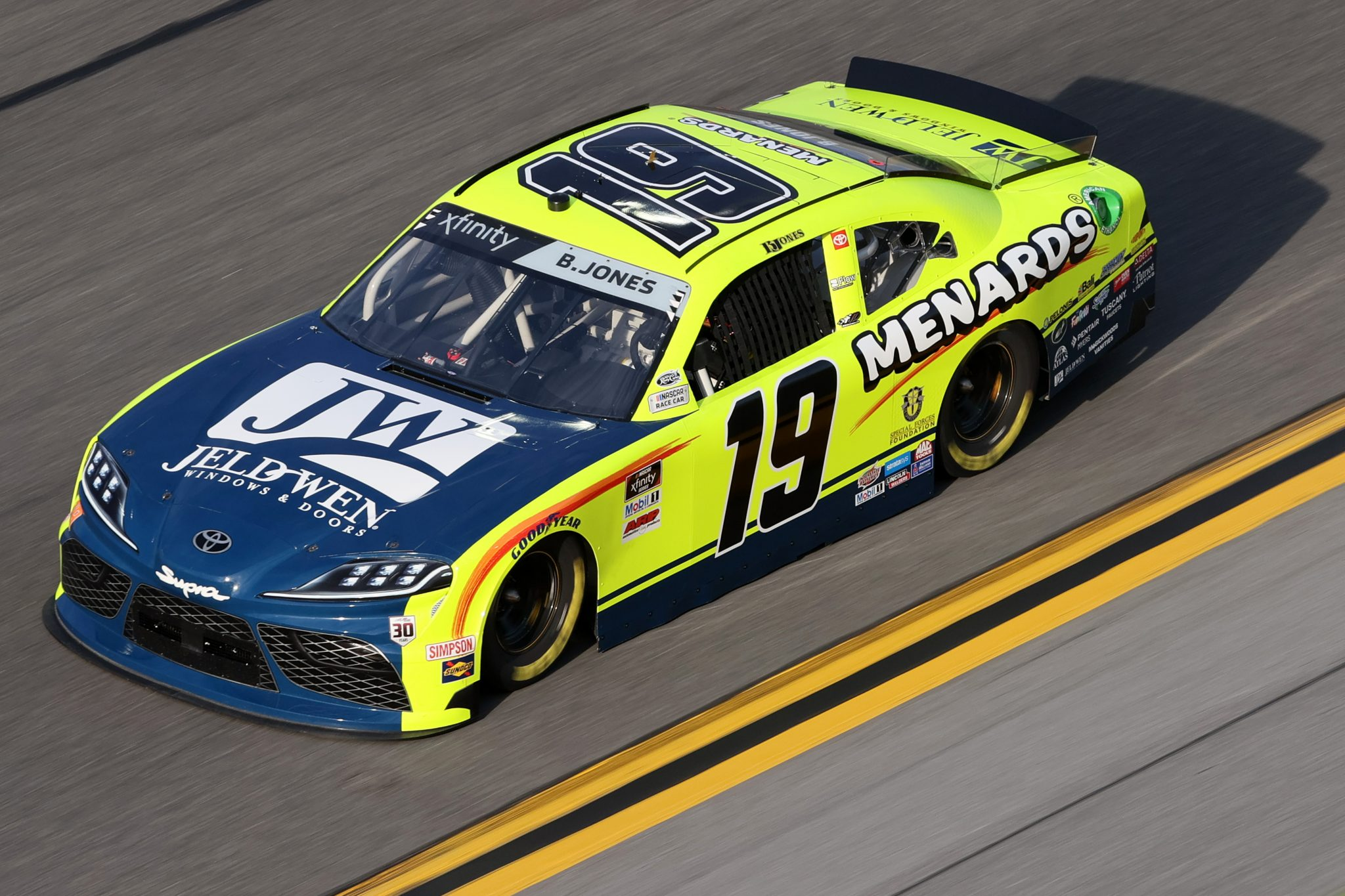 DAYTONA BEACH, FLORIDA - FEBRUARY 12: Brandon Jones, driver of the #19 Menards/Jeld-Wen Toyota, practices for the NASCAR Xfinity Series Beef. It's What's For Dinner. 300 at Daytona International Speedway on February 12, 2021 in Daytona Beach, Florida. (Photo by James Gilbert/Getty Images) | Getty Images