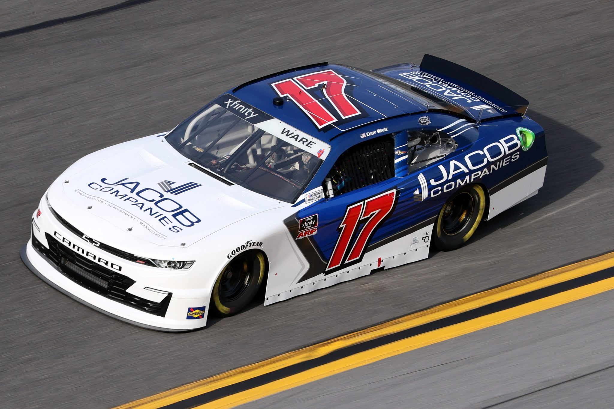 DAYTONA BEACH, FLORIDA - FEBRUARY 12: Cody Ware, driver of the #17 Jacob Companies Chevrolet, practices for the NASCAR Xfinity Series Beef. It's What's For Dinner. 300 at Daytona International Speedway on February 12, 2021 in Daytona Beach, Florida. (Photo by James Gilbert/Getty Images) | Getty Images