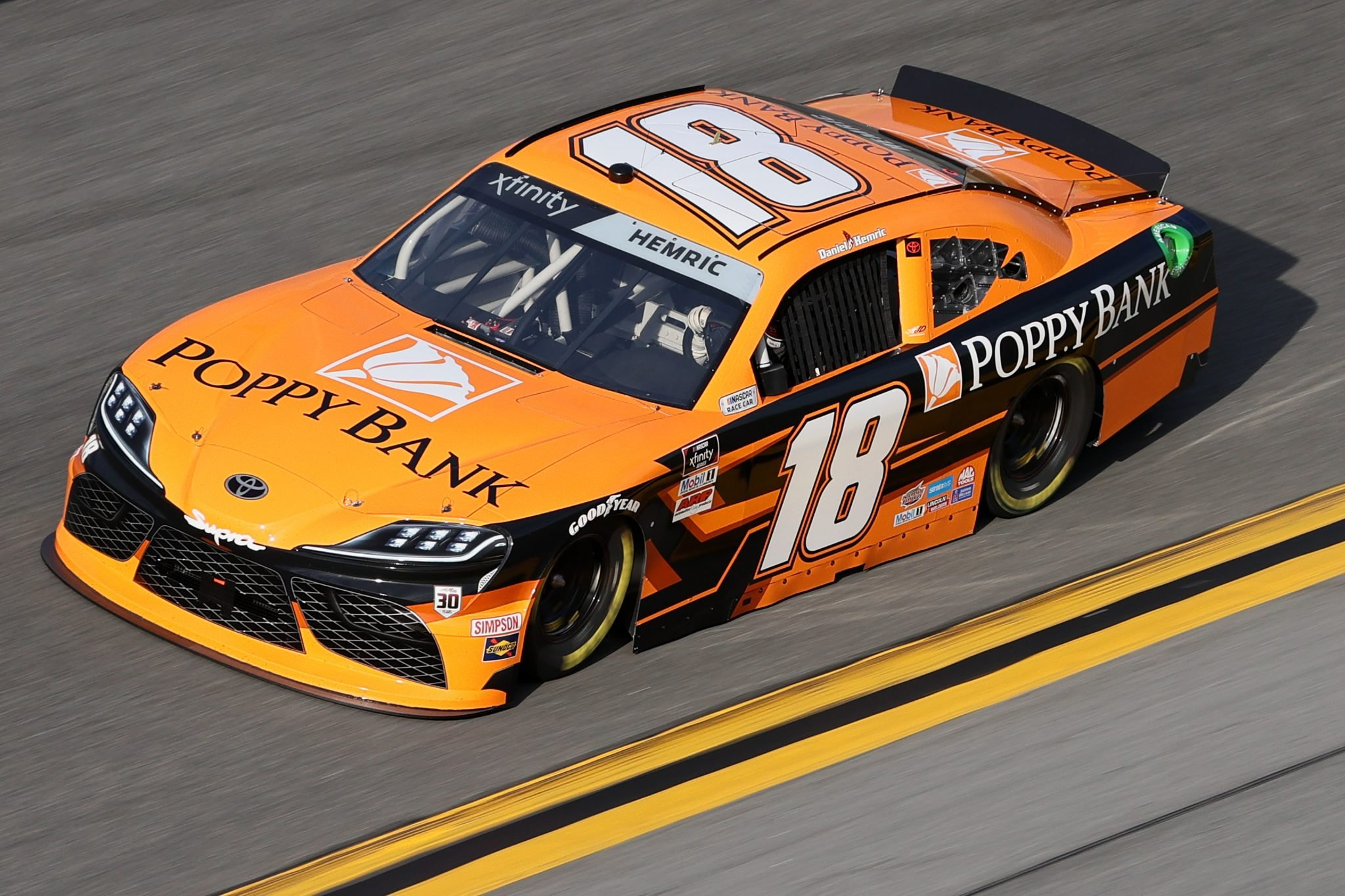 DAYTONA BEACH, FLORIDA - FEBRUARY 12: Daniel Hemric, driver of the #18 Poppy Bank Toyota, practices for the NASCAR Xfinity Series Beef. It's What's For Dinner. 300 at Daytona International Speedway on February 12, 2021 in Daytona Beach, Florida. (Photo by James Gilbert/Getty Images) | Getty Images