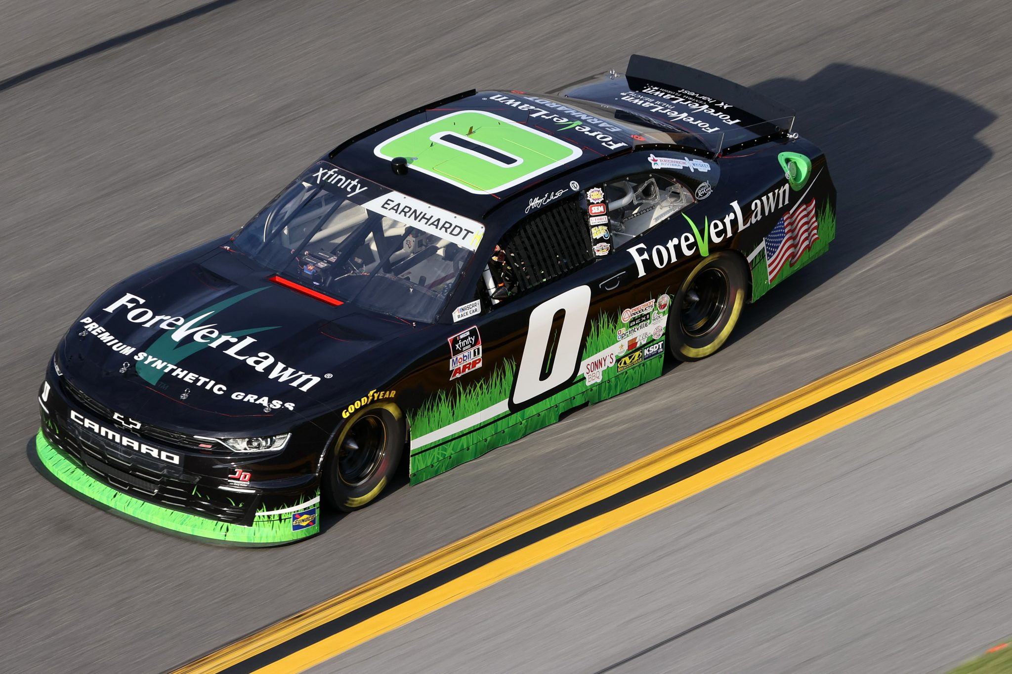 DAYTONA BEACH, FLORIDA - FEBRUARY 12: Jeffrey Earnhardt, driver of the #0 Forever Lawn Chevrolet, practices for the NASCAR Xfinity Series Beef. It's What's For Dinner. 300 at Daytona International Speedway on February 12, 2021 in Daytona Beach, Florida. (Photo by James Gilbert/Getty Images) | Getty Images