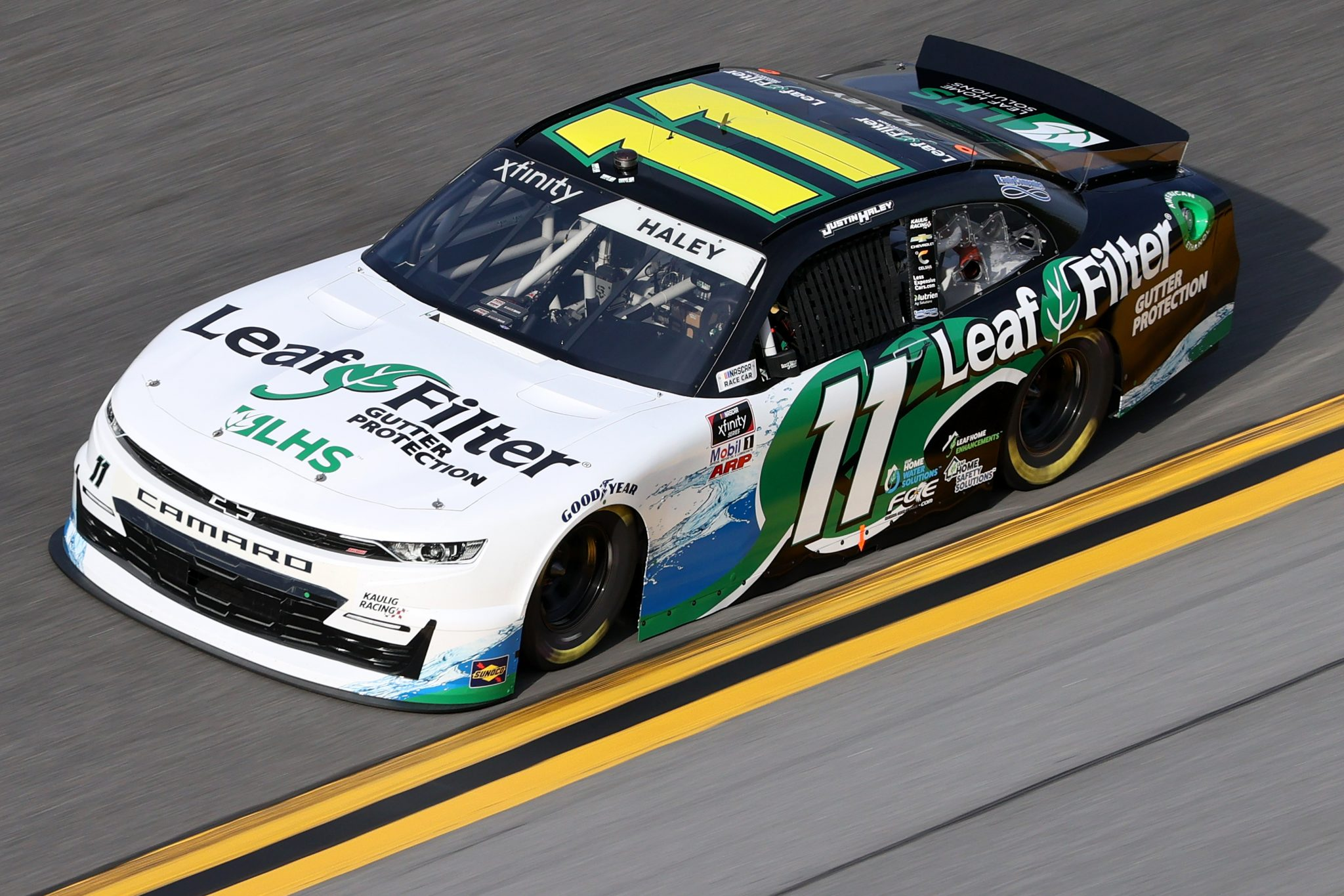 DAYTONA BEACH, FLORIDA - FEBRUARY 12: Justin Haley, driver of the #11 LeafFilter Gutter Protection Chevrolet, practices for the NASCAR Xfinity Series Beef. It's What's For Dinner. 300 at Daytona International Speedway on February 12, 2021 in Daytona Beach, Florida. (Photo by James Gilbert/Getty Images) | Getty Images