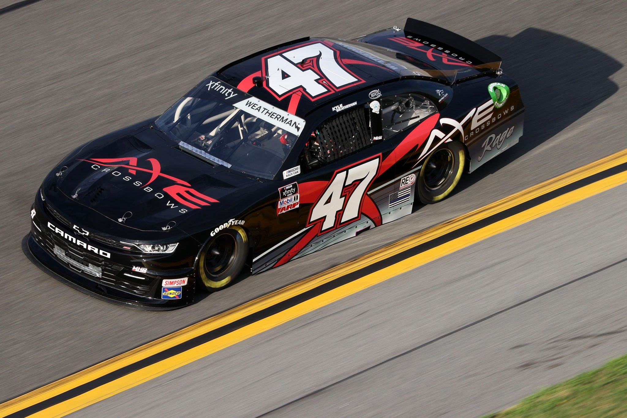 DAYTONA BEACH, FLORIDA - FEBRUARY 12: Kyle Weatherman, driver of the #47 Axe Crossbows Chevrolet, practices for the NASCAR Xfinity Series Beef. It's What's For Dinner. 300 at Daytona International Speedway on February 12, 2021 in Daytona Beach, Florida. (Photo by James Gilbert/Getty Images) | Getty Images