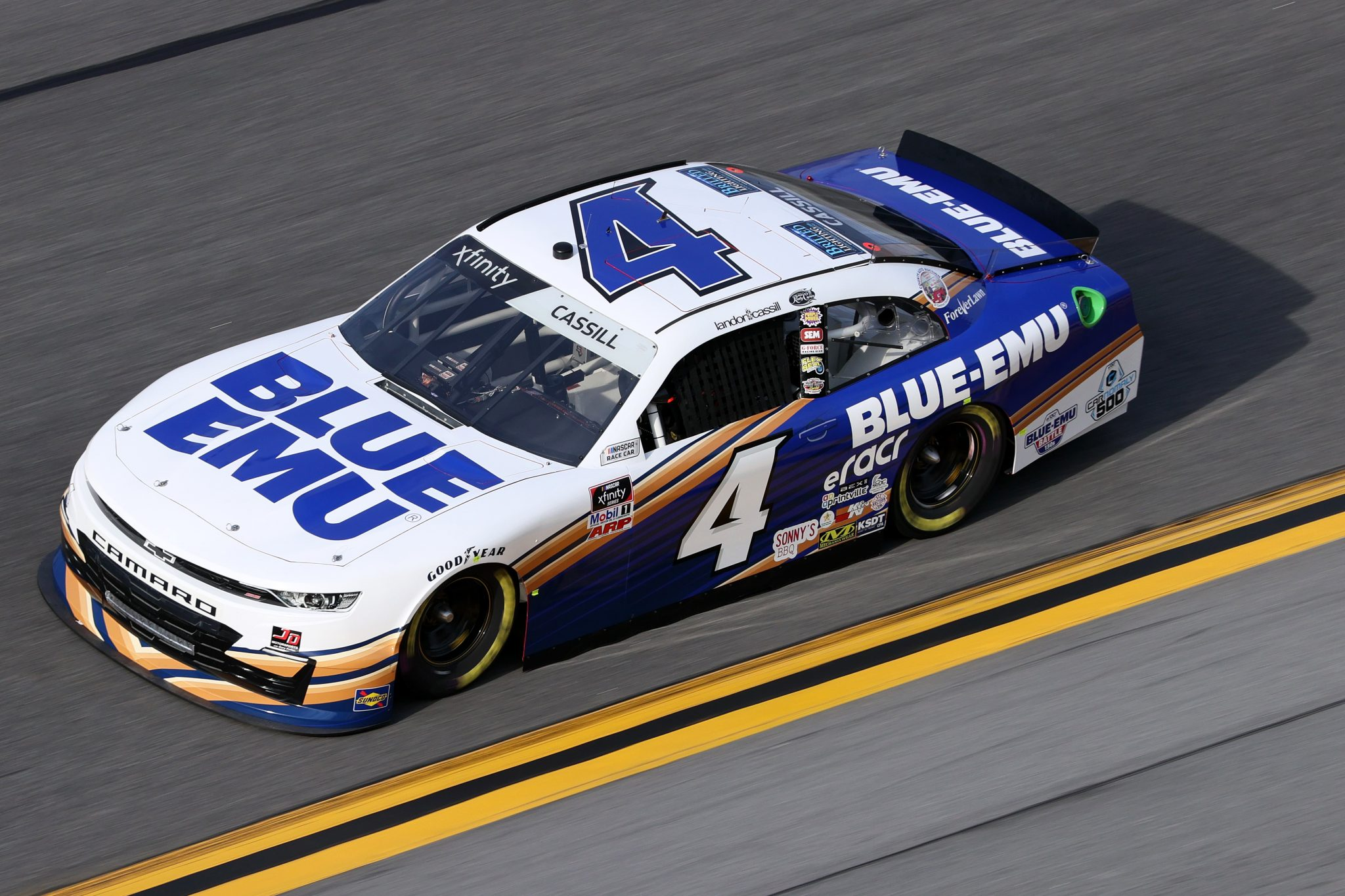 DAYTONA BEACH, FLORIDA - FEBRUARY 12: Landon Cassill, driver of the #4 Blue Emu Chevrolet, practices for the NASCAR Xfinity Series Beef. It's What's For Dinner. 300 at Daytona International Speedway on February 12, 2021 in Daytona Beach, Florida. (Photo by James Gilbert/Getty Images) | Getty Images