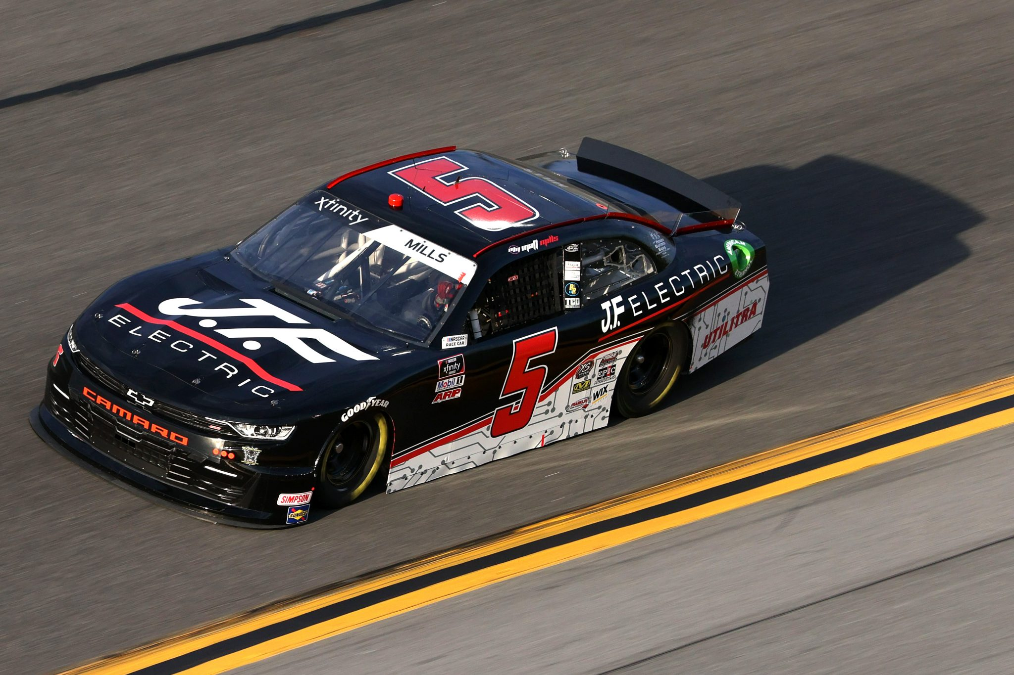 DAYTONA BEACH, FLORIDA - FEBRUARY 12: Matt Mills, driver of the #5 JF Electric Chevrolet, practices for the NASCAR Xfinity Series Beef. It's What's For Dinner. 300 at Daytona International Speedway on February 12, 2021 in Daytona Beach, Florida. (Photo by James Gilbert/Getty Images) | Getty Images