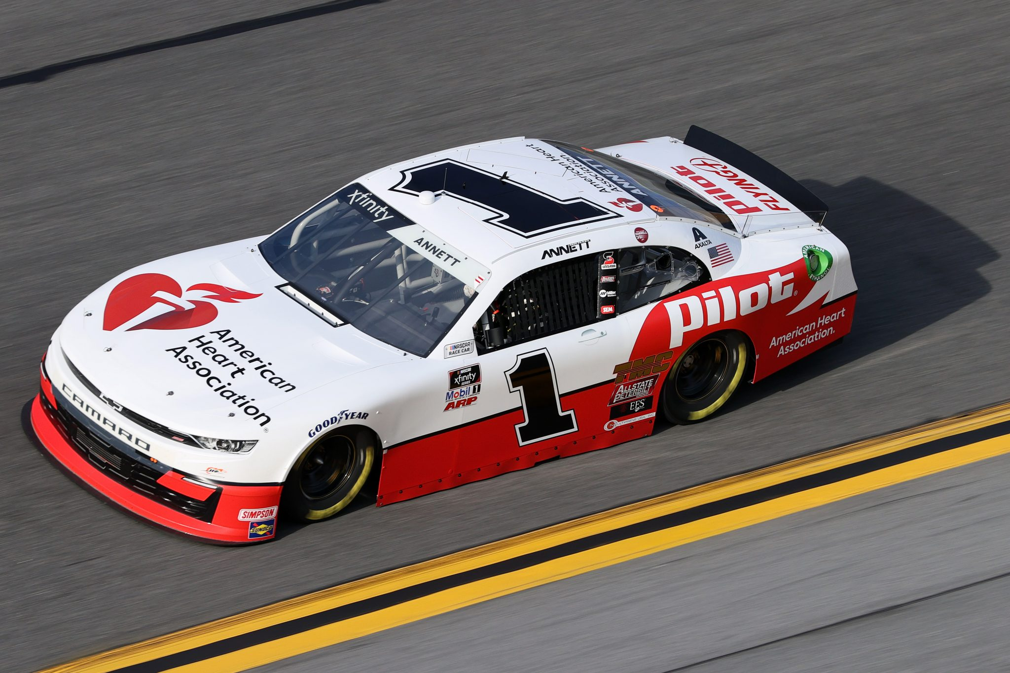 DAYTONA BEACH, FLORIDA - FEBRUARY 12: Michael Annett, driver of the #1 PFJ American Heart Association Chevrolet, practices for the NASCAR Xfinity Series Beef. It's What's For Dinner. 300 at Daytona International Speedway on February 12, 2021 in Daytona Beach, Florida. (Photo by James Gilbert/Getty Images) | Getty Images