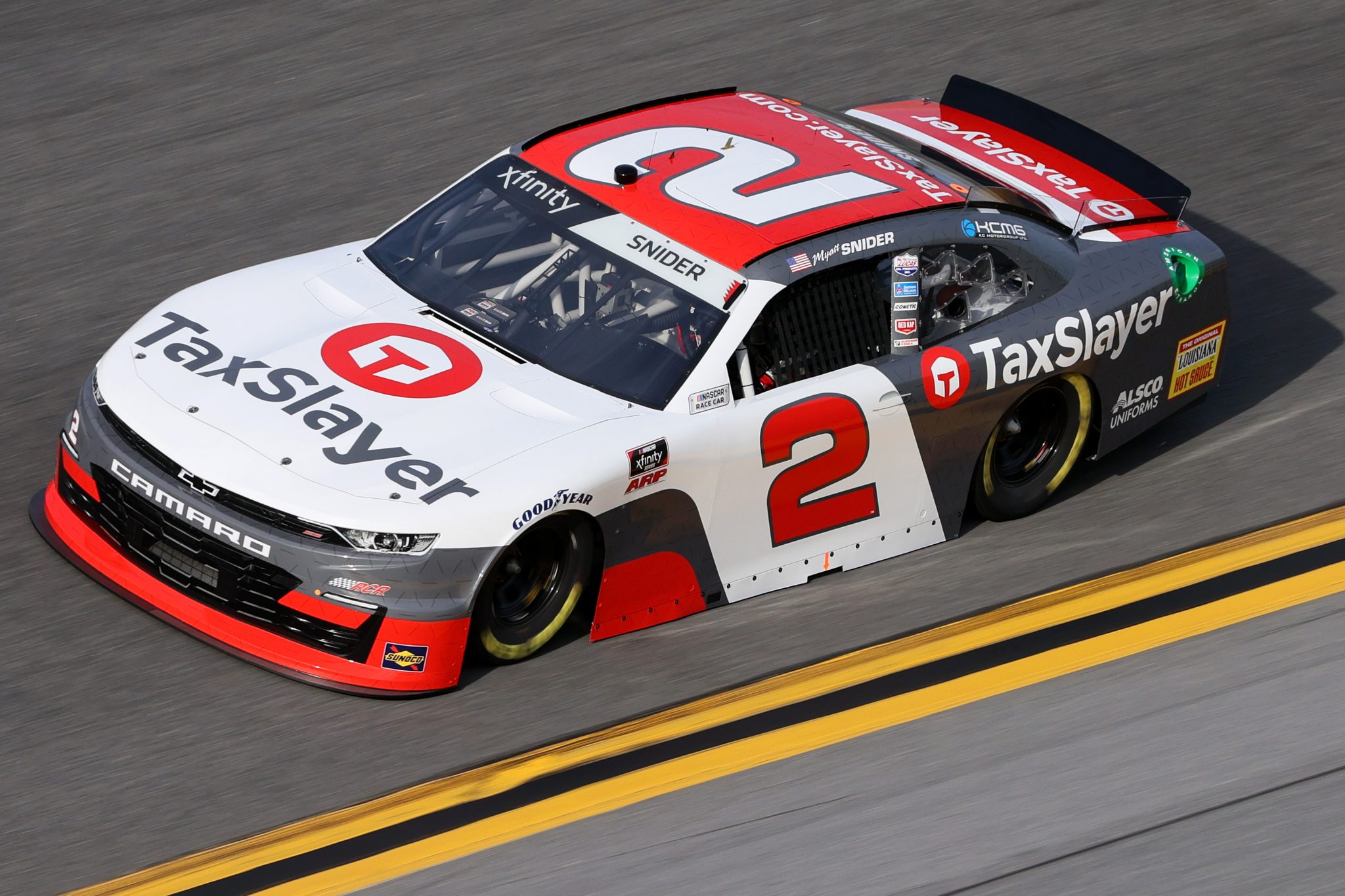 DAYTONA BEACH, FLORIDA - FEBRUARY 12: Myatt Snider, driver of the #2 TaxSlayer Chevrolet, practices for the NASCAR Xfinity Series Beef. It's What's For Dinner. 300 at Daytona International Speedway on February 12, 2021 in Daytona Beach, Florida. (Photo by James Gilbert/Getty Images) | Getty Images