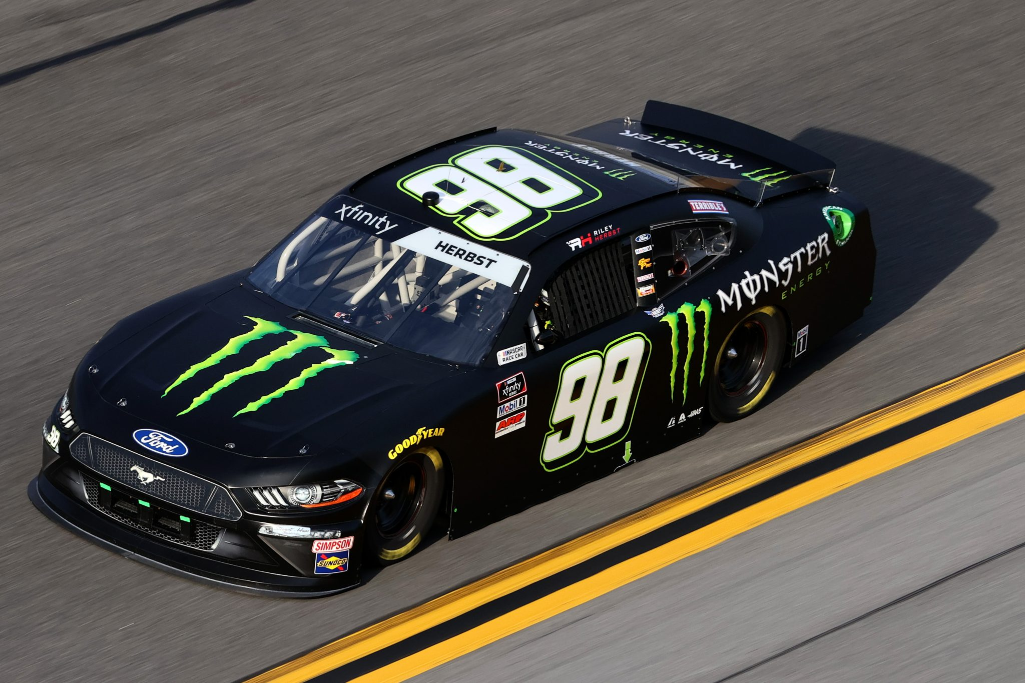 DAYTONA BEACH, FLORIDA - FEBRUARY 12: Riley Herbst, driver of the #98 Monster Energy Ford, practices for the NASCAR Xfinity Series Beef. It's What's For Dinner. 300 at Daytona International Speedway on February 12, 2021 in Daytona Beach, Florida. (Photo by James Gilbert/Getty Images) | Getty Images