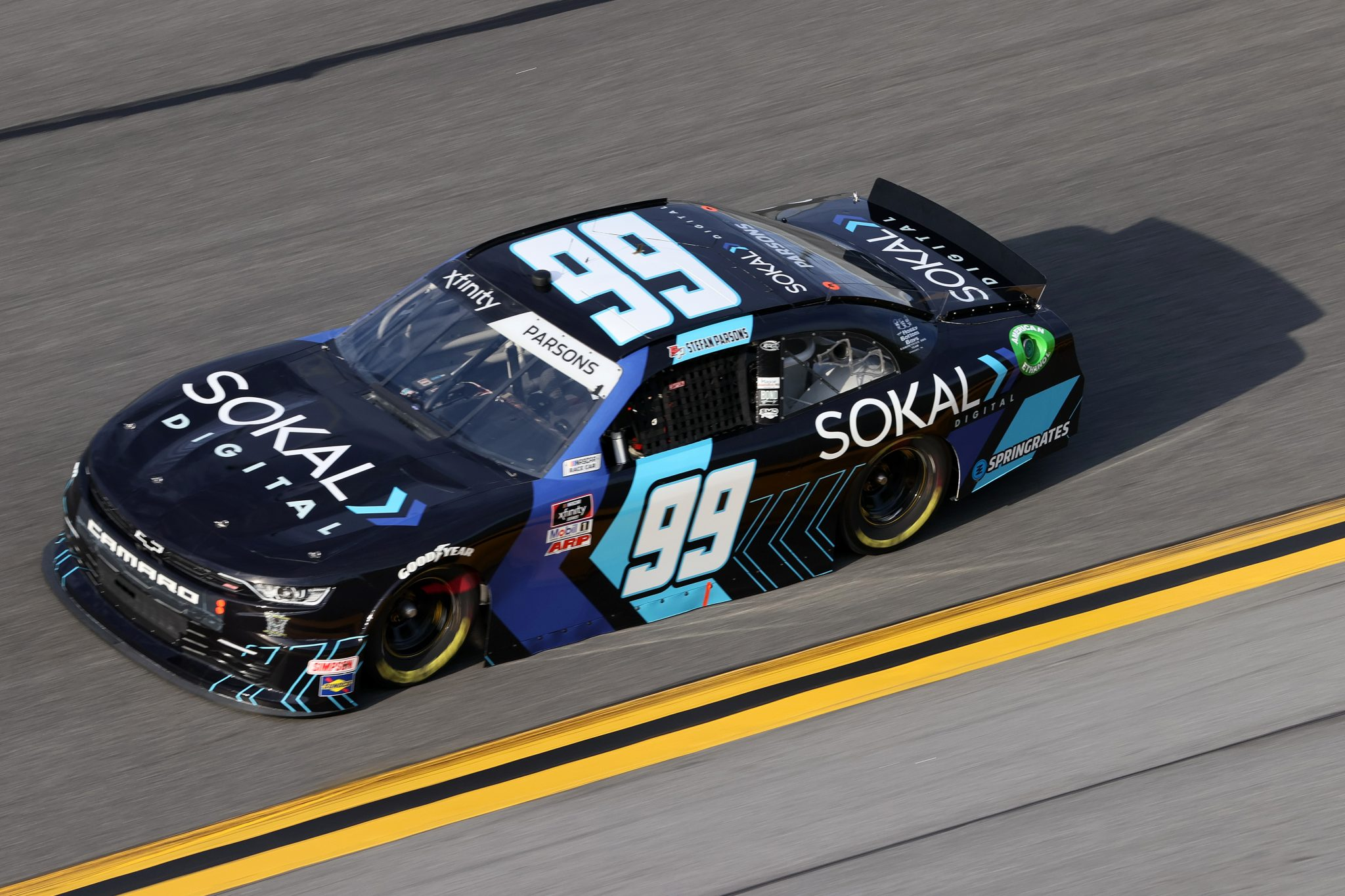 DAYTONA BEACH, FLORIDA - FEBRUARY 12: Stefan Parsons, driver of the #99 Sokal Digital Chevrolet, practices for the NASCAR Xfinity Series Beef. It's What's For Dinner. 300 at Daytona International Speedway on February 12, 2021 in Daytona Beach, Florida. (Photo by James Gilbert/Getty Images) | Getty Images