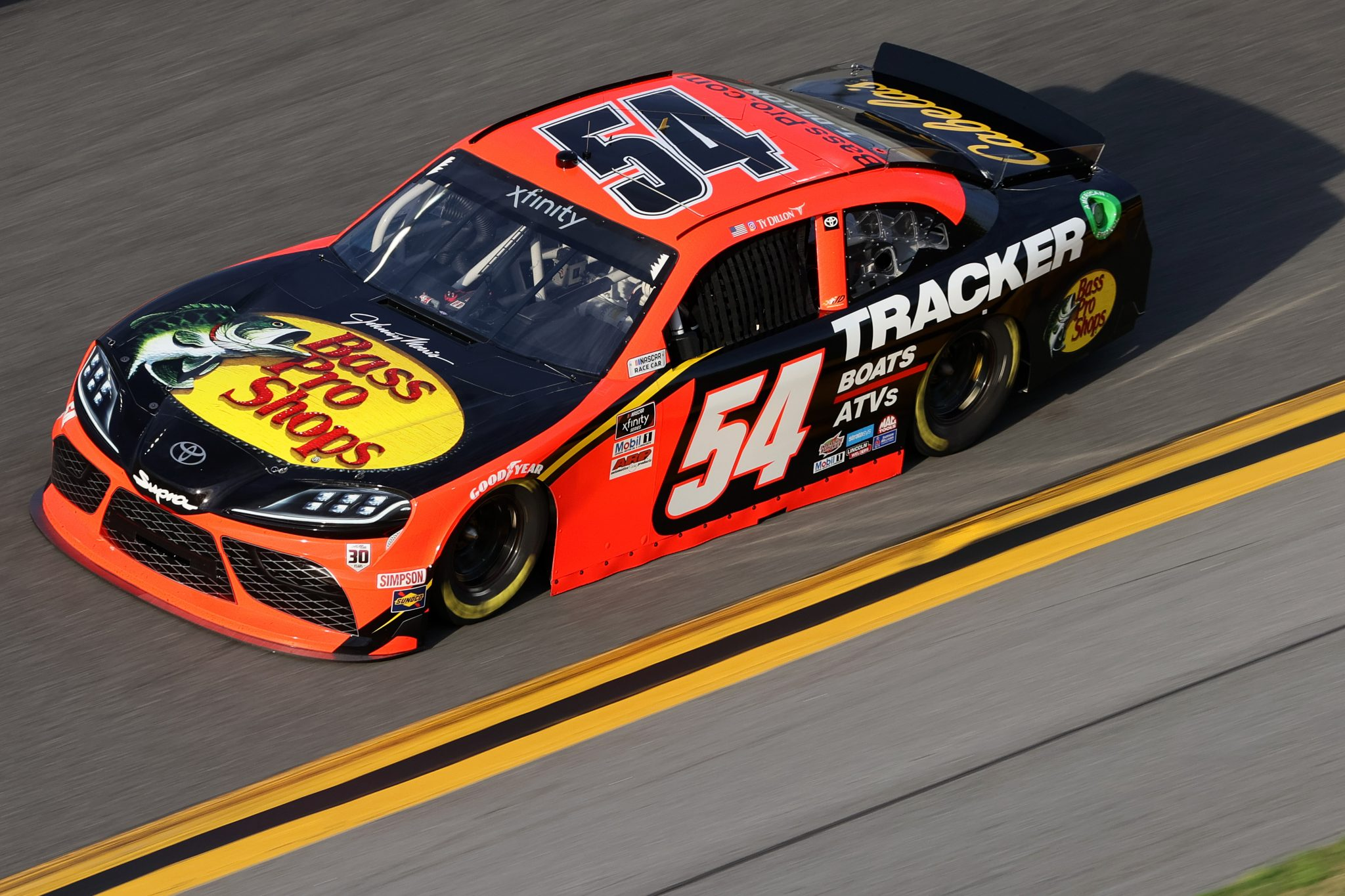 DAYTONA BEACH, FLORIDA - FEBRUARY 12: Ty Dillon, driver of the #54 Bass Pro Shops Toyota, practices for the NASCAR Xfinity Series Beef. It's What's For Dinner. 300 at Daytona International Speedway on February 12, 2021 in Daytona Beach, Florida. (Photo by James Gilbert/Getty Images) | Getty Images