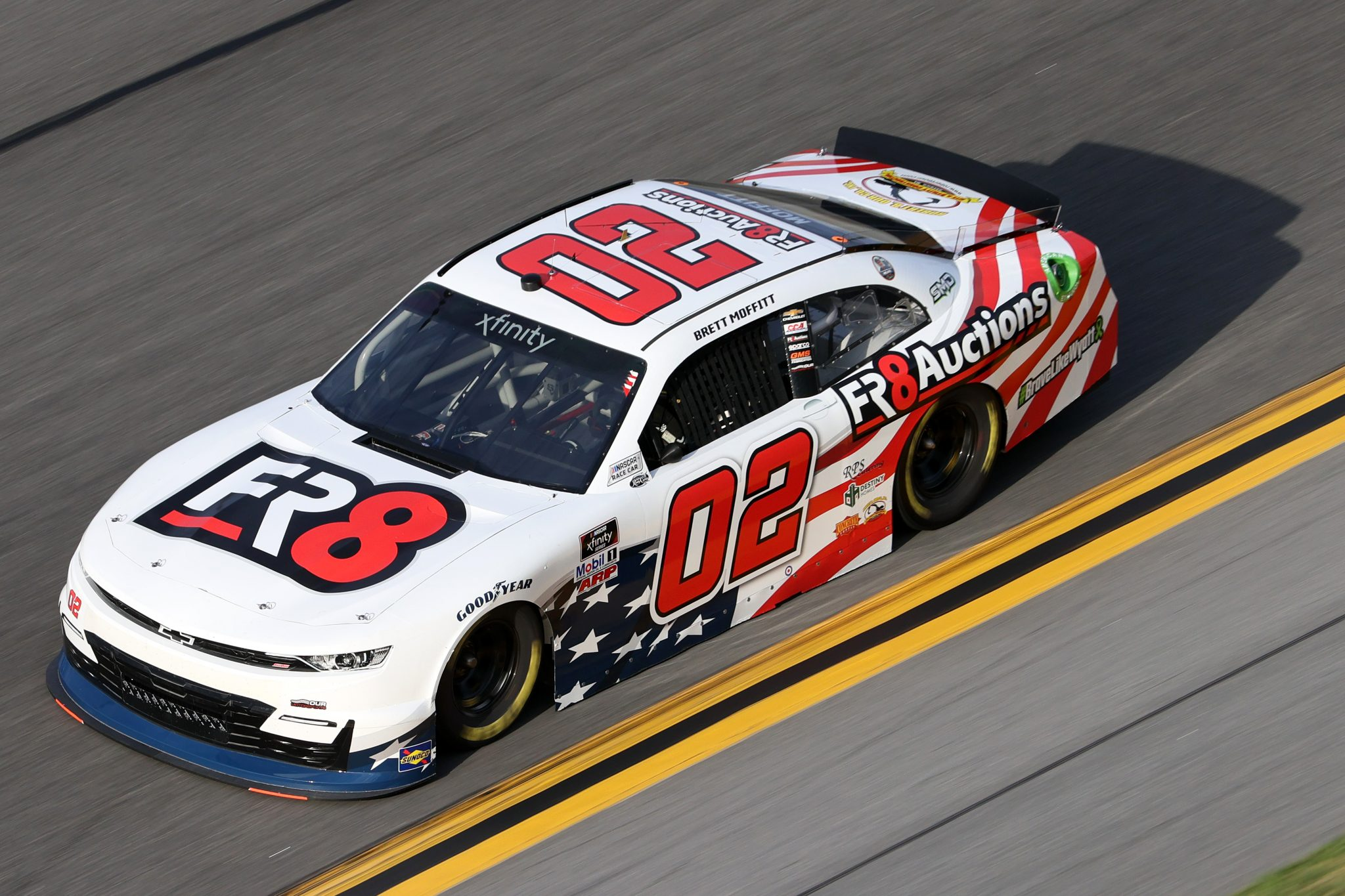 DAYTONA BEACH, FLORIDA - FEBRUARY 12: Brett Moffitt, driver of the #02 Fr8Auctions Chevrolet, practices for the NASCAR Xfinity Series Beef. It's What's For Dinner. 300 at Daytona International Speedway on February 12, 2021 in Daytona Beach, Florida. (Photo by James Gilbert/Getty Images) | Getty Images
