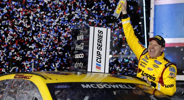DAYTONA BEACH, FLORIDA - FEBRUARY 14: Michael McDowell, driver of the #34 Love's Travel Stops Ford, celebrates in victory lane after winning the NASCAR Cup Series 63rd Annual Daytona 500 at Daytona International Speedway on February 14, 2021 in Daytona Beach, Florida. (Photo by Jared C. Tilton/Getty Images)   Getty Images