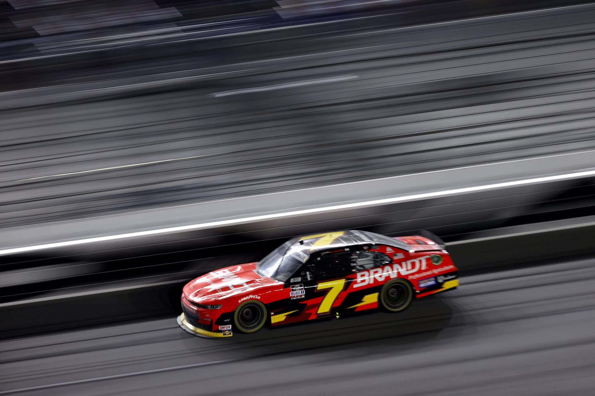 DAYTONA BEACH, FLORIDA - FEBRUARY 13: Justin Allgaier, driver of the #7 Brandt Chevrolet, drives during the NASCAR Xfinity Series Beef. It's What's For Dinner. 300 at Daytona International Speedway on February 13, 2021 in Daytona Beach, Florida. (Photo by Jared C. Tilton/Getty Images) | Getty Images
