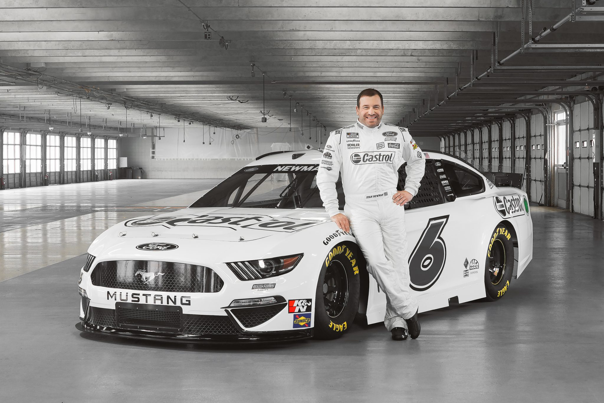 February 02, 2021 - Concord, North Carolina, USA: Chris Buescher (17) and Ryan Newman (6) pose with their Castrol Ford Mustang at their pre season shoot at Charlotte Motor Speedway in Concord, North Carolina.