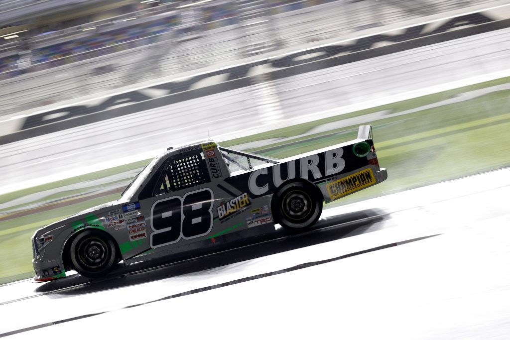 DAYTONA BEACH, FLORIDA - FEBRUARY 19: Christian Eckes, driver of the #98 ProtectTheHarvest.com Toyota, drives during the NASCAR Camping World Truck Series BrakeBest Brake Pads 159 At Daytona Presented by O'Reilly at Daytona International Speedway on February 19, 2021 in Daytona Beach, Florida. (Photo by Chris Graythen/Getty Images) | Getty Images