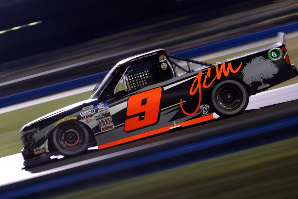 DAYTONA BEACH, FLORIDA - FEBRUARY 19: Codie Rohrbaugh, driver of the #9 Grant County Mulch Chevrolet, drives during the NASCAR Camping World Truck Series BrakeBest Brake Pads 159 At Daytona Presented by O'Reilly at Daytona International Speedway on February 19, 2021 in Daytona Beach, Florida. (Photo by Chris Graythen/Getty Images) | Getty Images