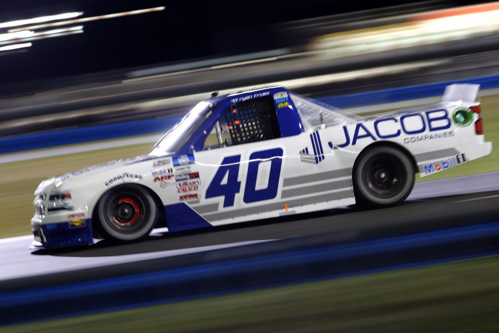 DAYTONA BEACH, FLORIDA - FEBRUARY 19: Ryan Truex, driver of the #40 Jacob Companies Chevrolet, drives during the NASCAR Camping World Truck Series BrakeBest Brake Pads 159 At Daytona Presented by O'Reilly at Daytona International Speedway on February 19, 2021 in Daytona Beach, Florida. (Photo by Chris Graythen/Getty Images) | Getty Images