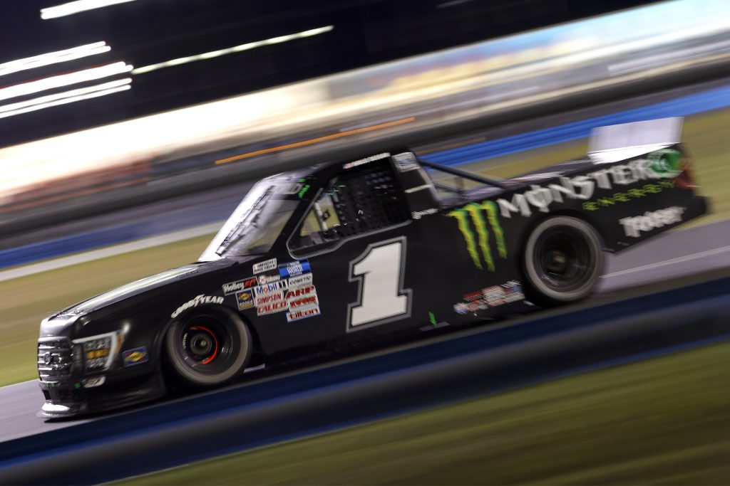 DAYTONA BEACH, FLORIDA - FEBRUARY 19: Hailie Deegan, driver of the #1 Monster Ford, drives during the NASCAR Camping World Truck Series BrakeBest Brake Pads 159 At Daytona Presented by O'Reilly at Daytona International Speedway on February 19, 2021 in Daytona Beach, Florida. (Photo by Chris Graythen/Getty Images) | Getty Images