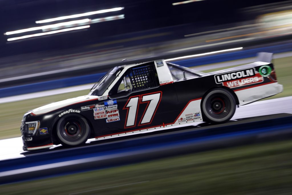 DAYTONA BEACH, FLORIDA - FEBRUARY 19: Riley Herbst, driver of the #17 Factory Canopies Ford, drives during the NASCAR Camping World Truck Series BrakeBest Brake Pads 159 At Daytona Presented by O'Reilly at Daytona International Speedway on February 19, 2021 in Daytona Beach, Florida. (Photo by Chris Graythen/Getty Images) | Getty Images