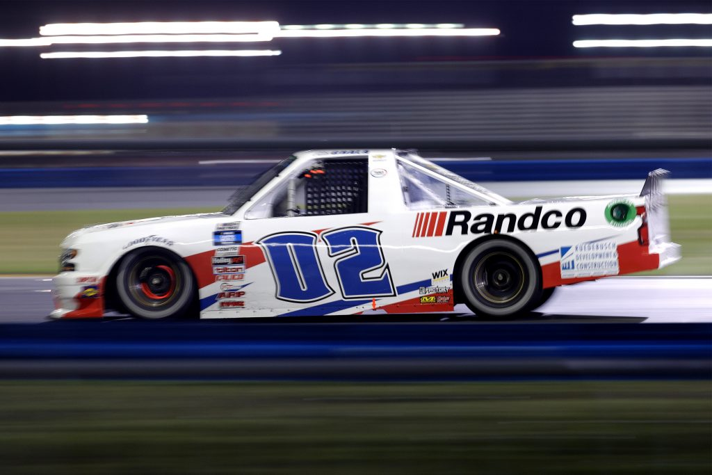 DAYTONA BEACH, FLORIDA - FEBRUARY 19: Kaz Grala, driver of the #02 Young's Building Systems Chevrolet, drives during the NASCAR Camping World Truck Series BrakeBest Brake Pads 159 At Daytona Presented by O'Reilly at Daytona International Speedway on February 19, 2021 in Daytona Beach, Florida. (Photo by Chris Graythen/Getty Images) | Getty Images