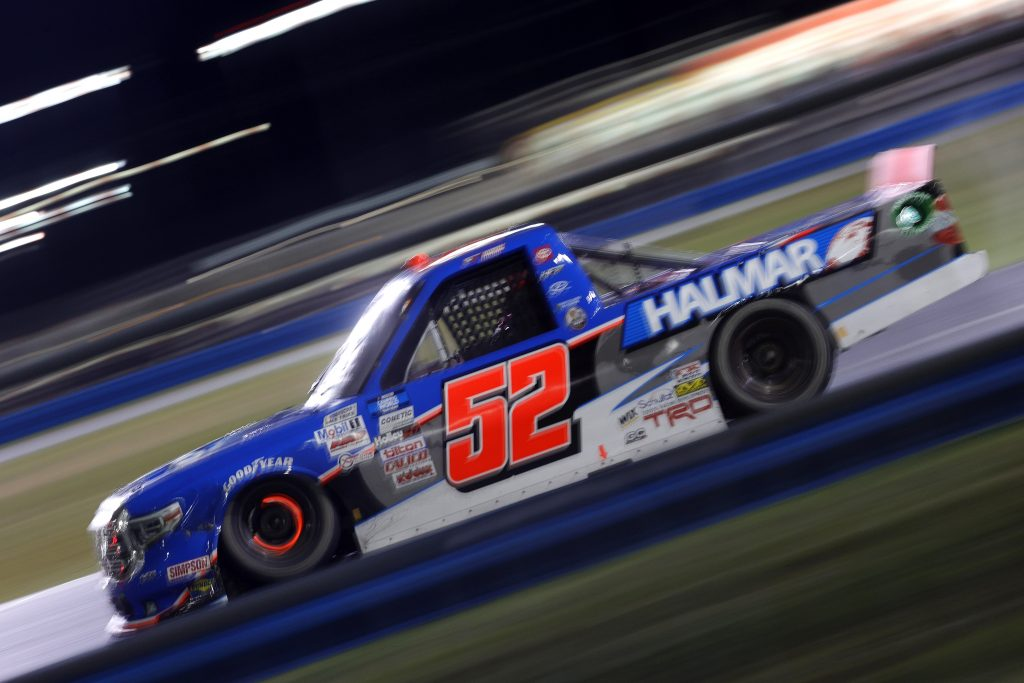 DAYTONA BEACH, FLORIDA - FEBRUARY 19: Stewart Friesen, driver of the #52 Halmar International Toyota, drives during the NASCAR Camping World Truck Series BrakeBest Brake Pads 159 At Daytona Presented by O'Reilly at Daytona International Speedway on February 19, 2021 in Daytona Beach, Florida. (Photo by Chris Graythen/Getty Images) | Getty Images