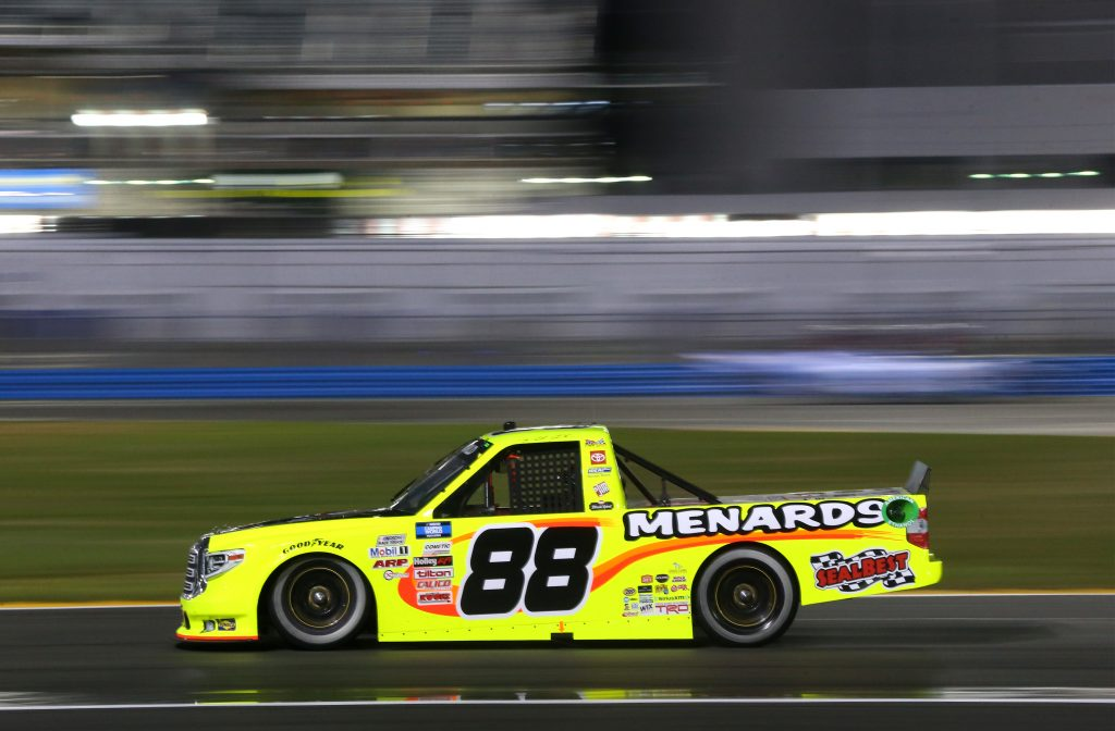 DAYTONA BEACH, FLORIDA - FEBRUARY 19: Matt Crafton, driver of the #88 Black Label Bacon/Menards Toyota, drives during the NASCAR Camping World Truck Series BrakeBest Brake Pads 159 At Daytona Presented by O'Reilly at Daytona International Speedway on February 19, 2021 in Daytona Beach, Florida. (Photo by Brian Lawdermilk/Getty Images) | Getty Images