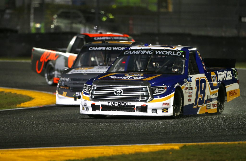 DAYTONA BEACH, FLORIDA - FEBRUARY 19: Derek Kraus, driver of the #19 NAPA Auto Care Toyota, leads the field during the NASCAR Camping World Truck Series BrakeBest Brake Pads 159 At Daytona Presented by O'Reilly at Daytona International Speedway on February 19, 2021 in Daytona Beach, Florida. (Photo by Brian Lawdermilk/Getty Images) | Getty Images