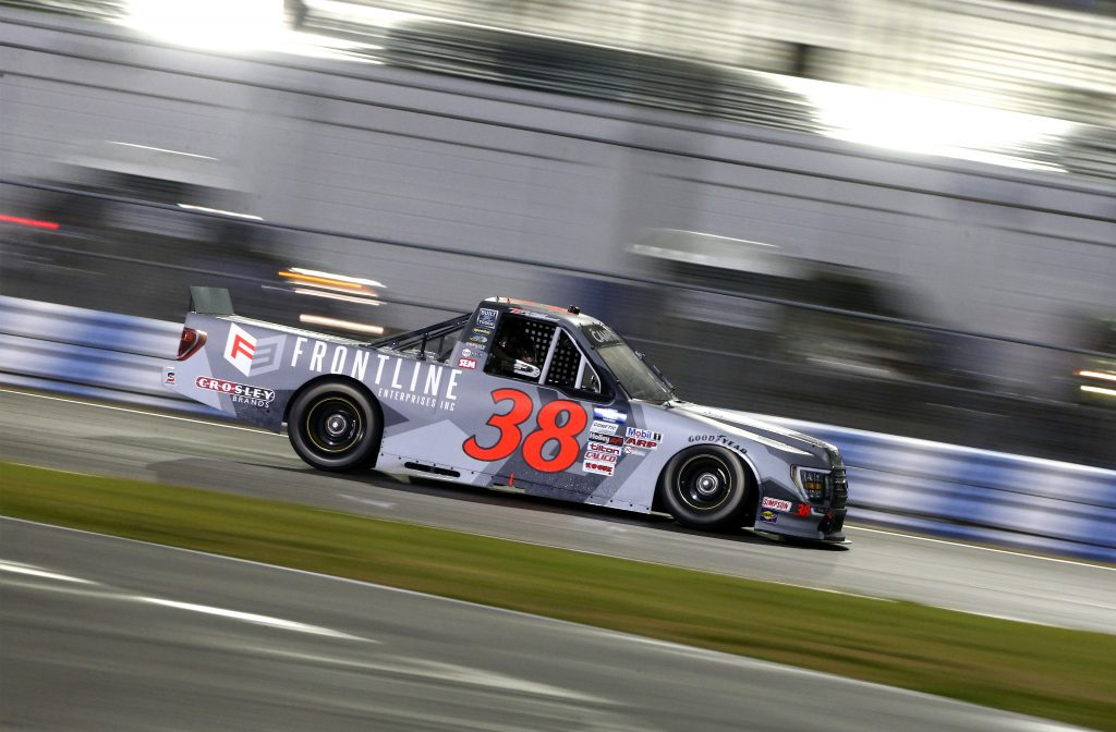 DAYTONA BEACH, FLORIDA - FEBRUARY 19: Todd Gilliland, driver of the #38 Frontline Enterprises Inc. Ford, drives during the NASCAR Camping World Truck Series BrakeBest Brake Pads 159 At Daytona Presented by O'Reilly at Daytona International Speedway on February 19, 2021 in Daytona Beach, Florida. (Photo by Brian Lawdermilk/Getty Images) | Getty Images