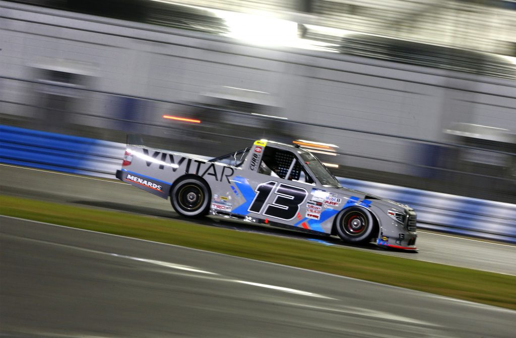 DAYTONA BEACH, FLORIDA - FEBRUARY 19: Johnny Sauter, driver of the #13 Vivitar/RealTree Toyota, drives during the NASCAR Camping World Truck Series BrakeBest Brake Pads 159 At Daytona Presented by O'Reilly at Daytona International Speedway on February 19, 2021 in Daytona Beach, Florida. (Photo by Brian Lawdermilk/Getty Images) | Getty Images