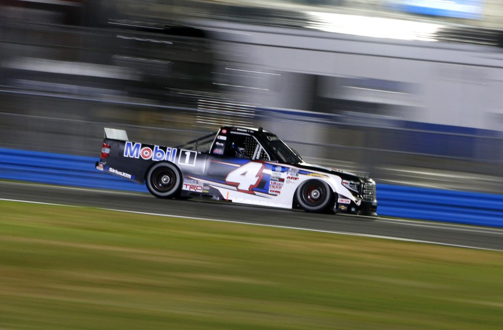 DAYTONA BEACH, FLORIDA - FEBRUARY 19: John Hunter Nemechek, driver of the #4 Mobil 1 Toyota, drives during the NASCAR Camping World Truck Series BrakeBest Brake Pads 159 At Daytona Presented by O'Reilly at Daytona International Speedway on February 19, 2021 in Daytona Beach, Florida. (Photo by Brian Lawdermilk/Getty Images) | Getty Images